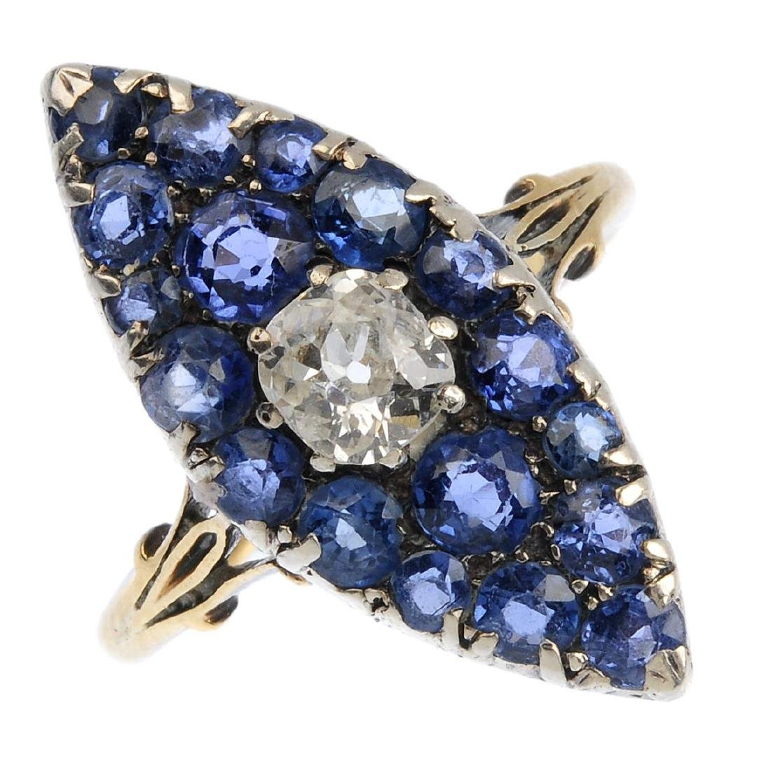 A late Victorian gold and silver diamond and sapphire