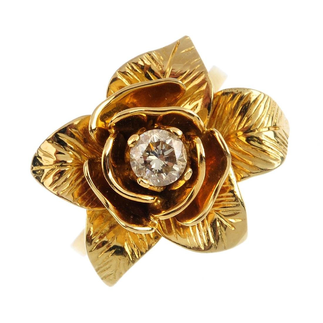 A diamond floral ring. Designed as a rose, the