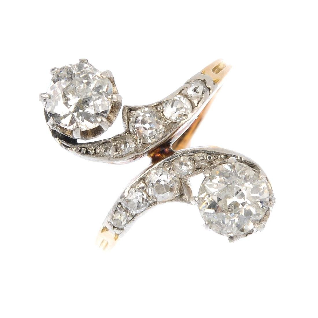 An early 20th century 18ct gold diamond ring. The