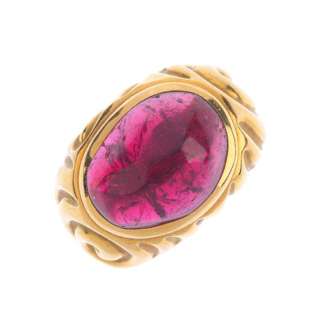 ELIZABETH GAGE - an 18ct gold tourmaline ring. The free
