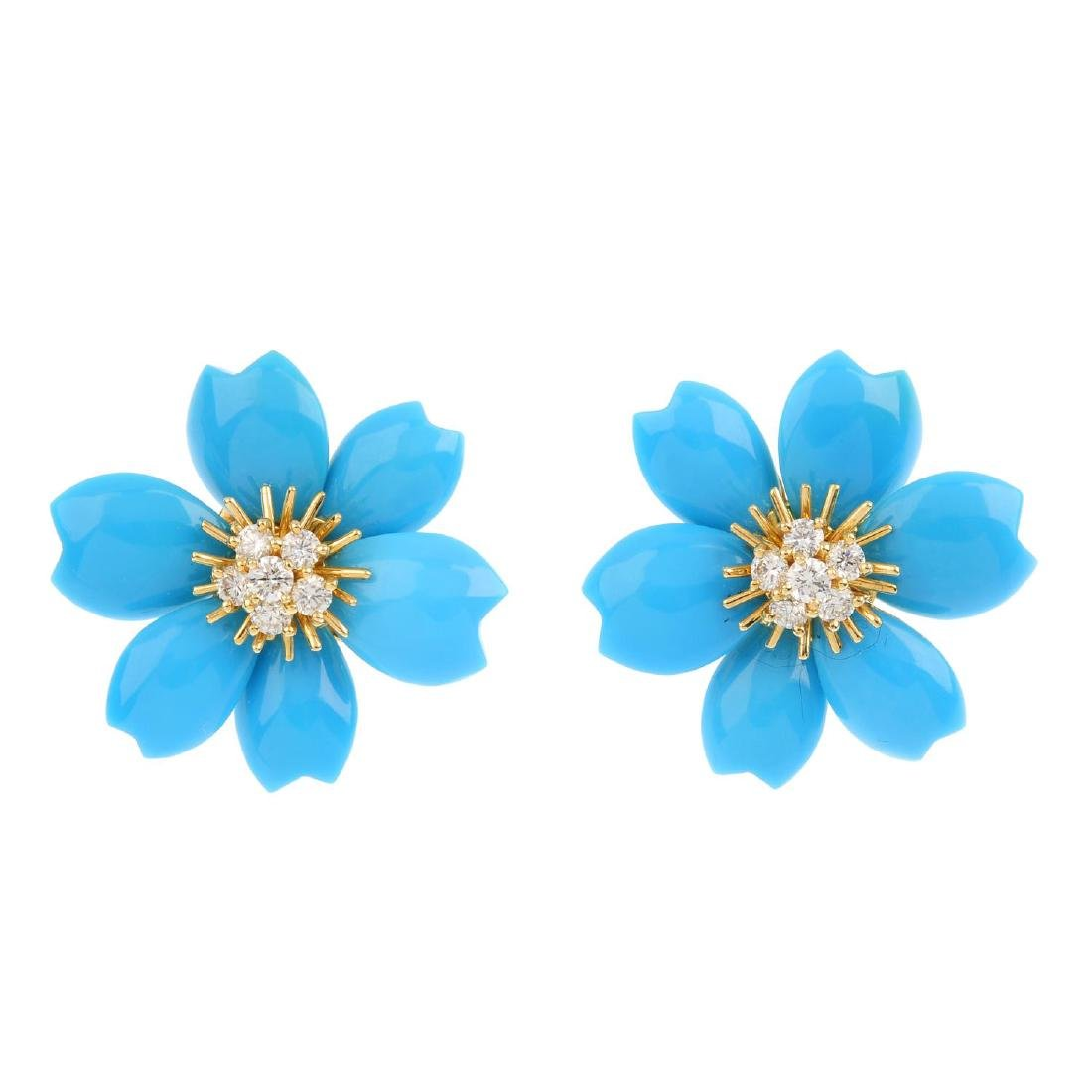 VAN CLEEF & ARPELS - a pair of diamond and turquoise