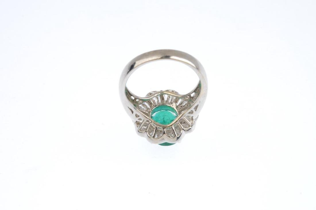 An 18ct gold emerald and diamond cluster ring. The - 4