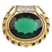 A tourmaline and diamond brooch Of bicolour design