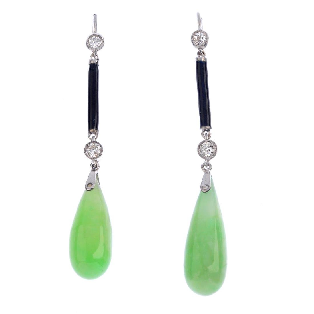 A pair of jade, diamond and enamel earrings. Each