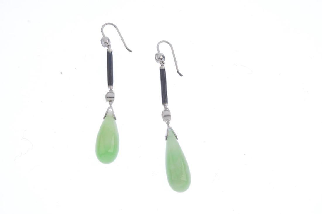 A pair of jade, diamond and enamel earrings. Each - 2