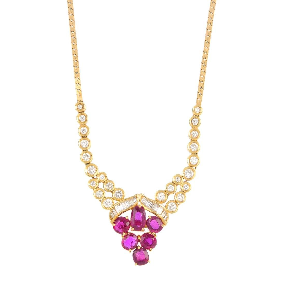 A ruby and diamond necklace. The circular and
