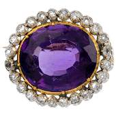 A mid Victorian amethyst and diamond brooch. The