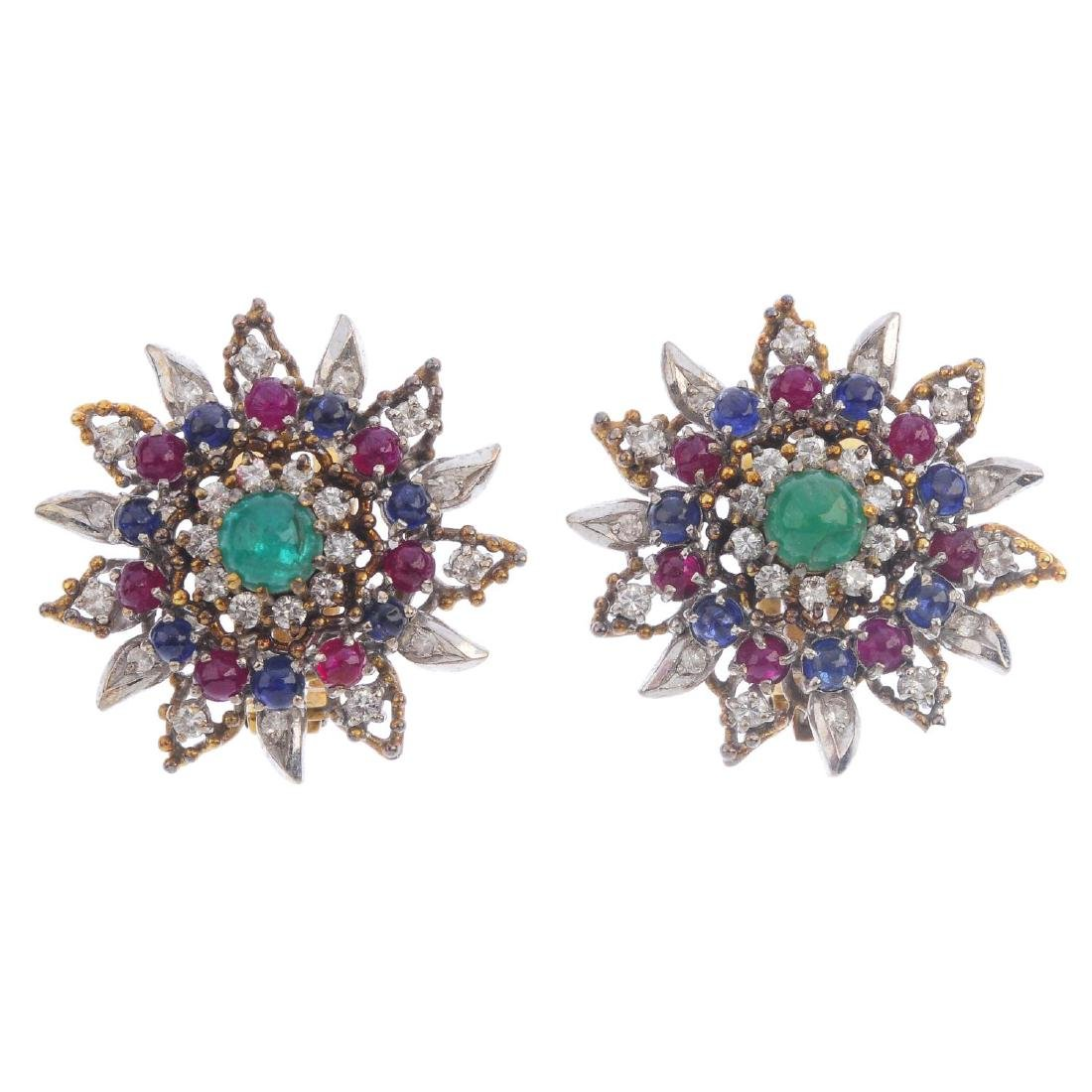 A pair of mid 20th century emerald, ruby, sapphire and