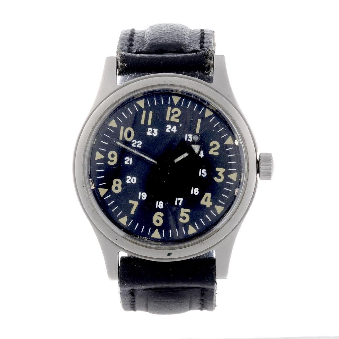 A military issue wrist watch. Stainless steel case.