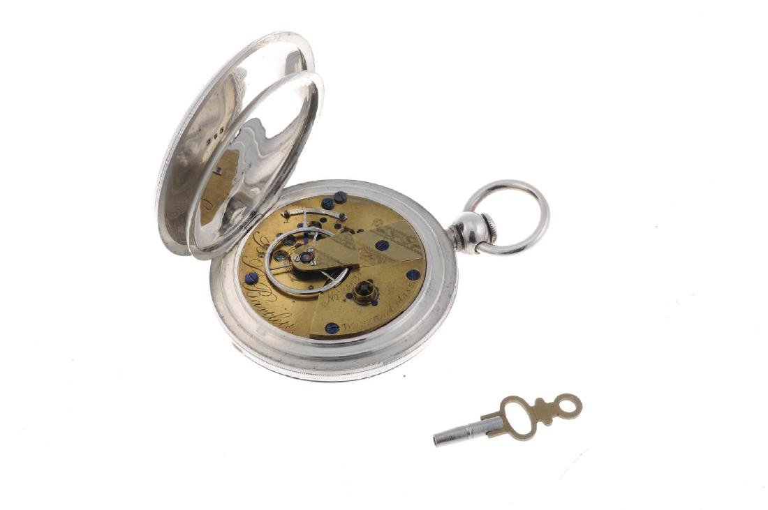 A full hunter pocket watch by Waltham. White metal - 3