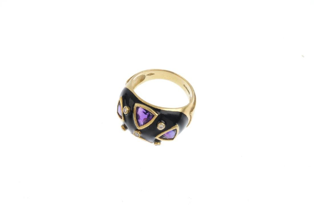 A 1980s 18ct gold diamond, amethyst and enamel ring. - 2