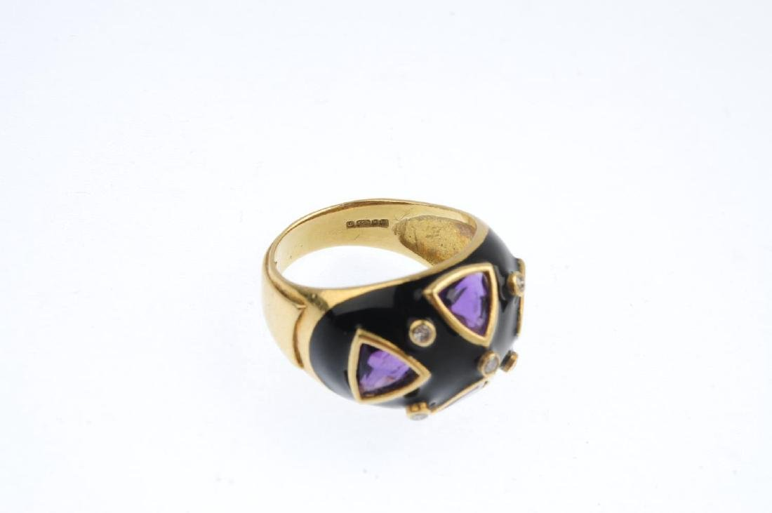 A 1980s 18ct gold diamond, amethyst and enamel ring. - 3