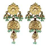 A pair of enamel and gem-set earrings. Each designed as