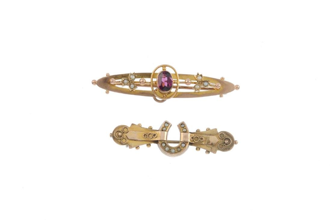 A garnet five-stone ring and two early 20th century - 2