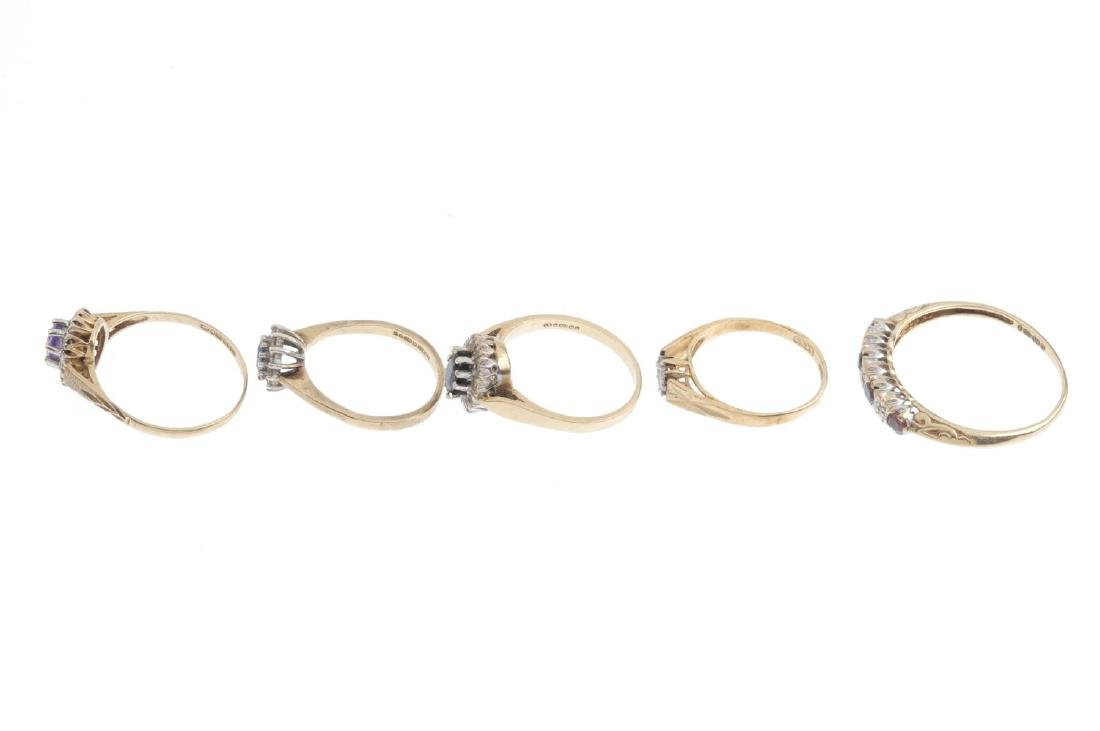 Five 9ct gold diamond and gem-set rings. To include a - 2