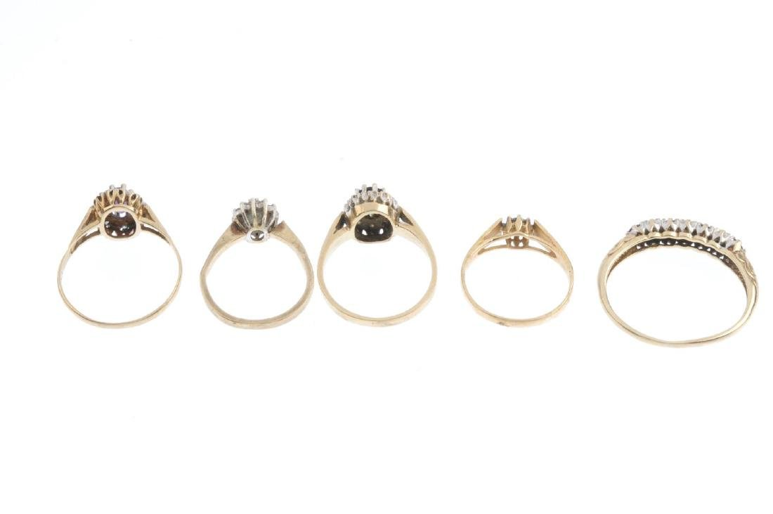 Five 9ct gold diamond and gem-set rings. To include a - 3