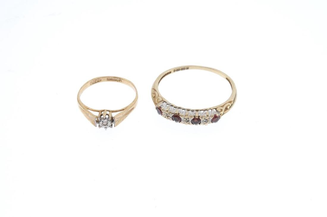 Five 9ct gold diamond and gem-set rings. To include a - 4