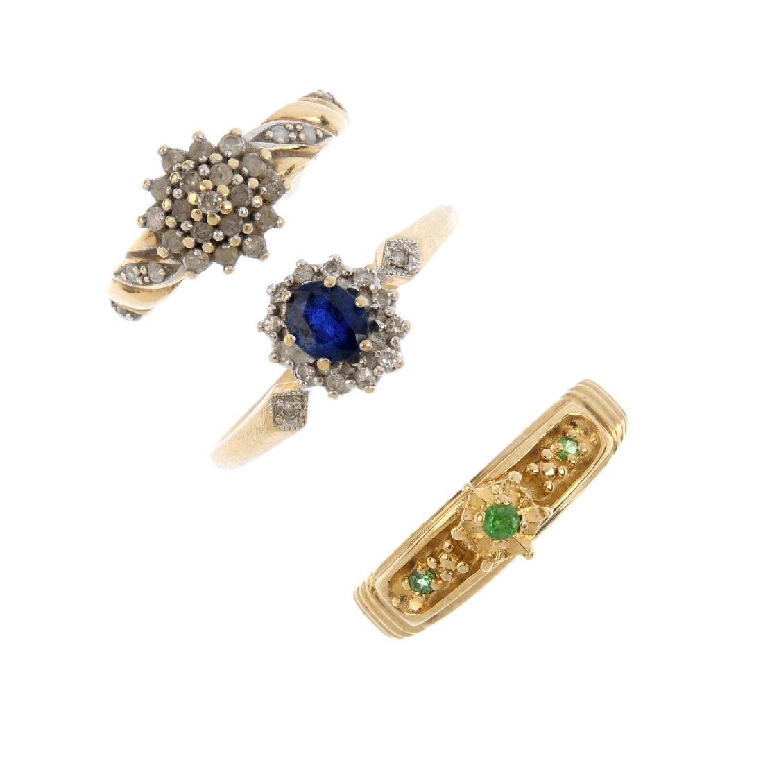 Five 9ct gold gem-set and diamond rings. To include a