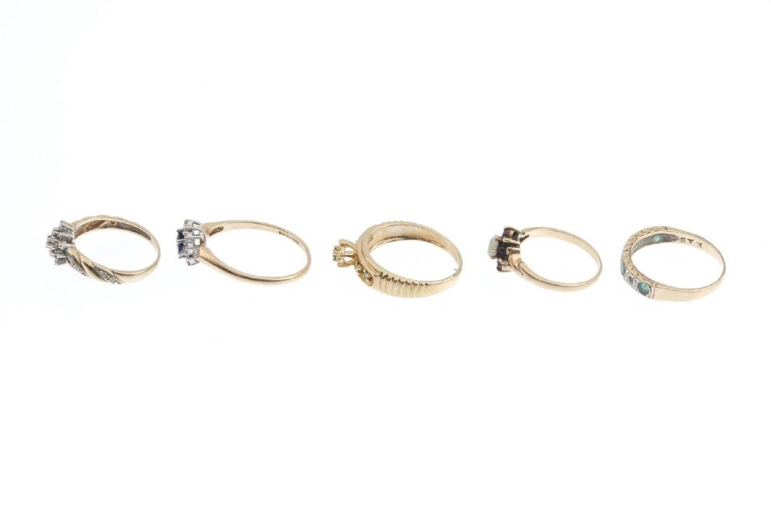 Five 9ct gold gem-set and diamond rings. To include a - 2