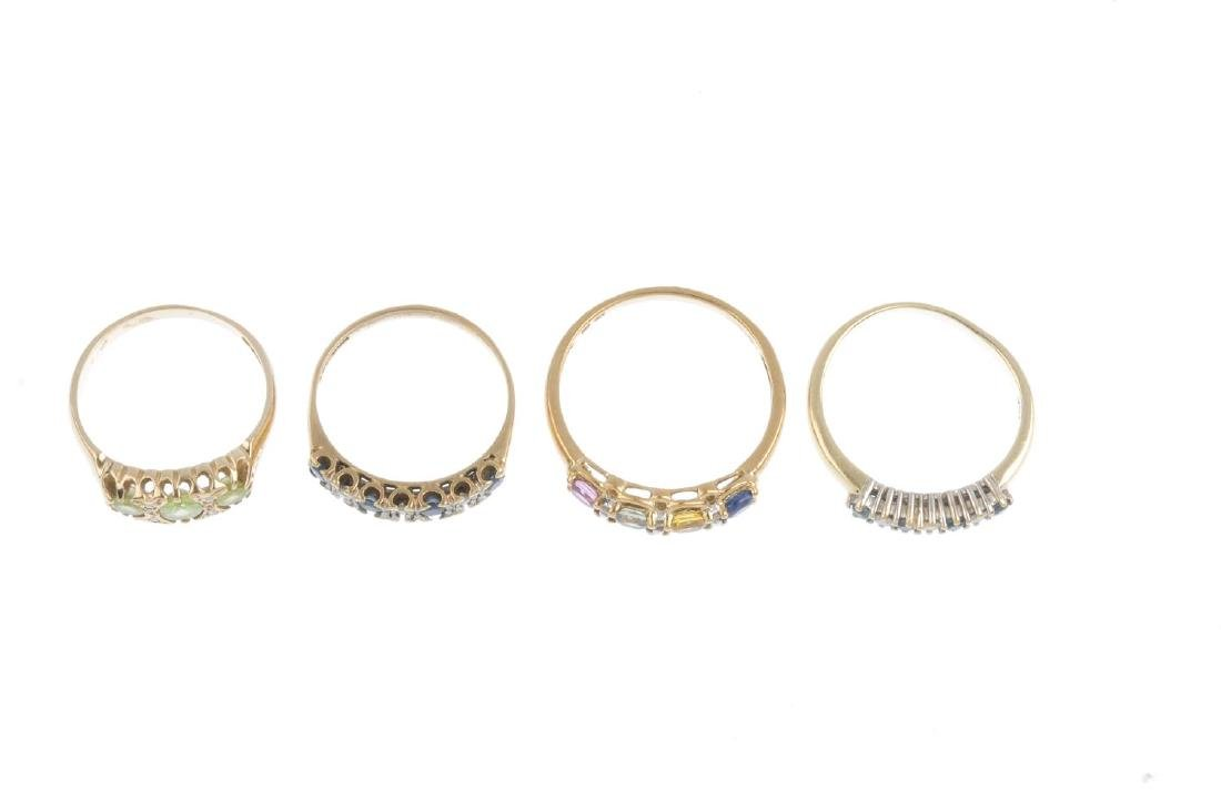 Four 9ct gold diamond and gem-set rings. To include a - 2