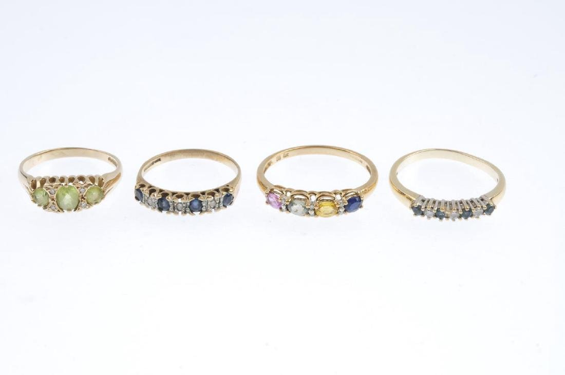 Four 9ct gold diamond and gem-set rings. To include a - 3