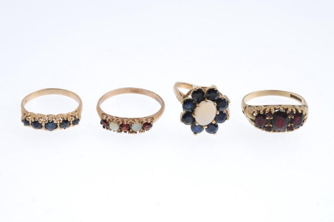 Four gem-set rings. To include a 9ct gold opal and - 3