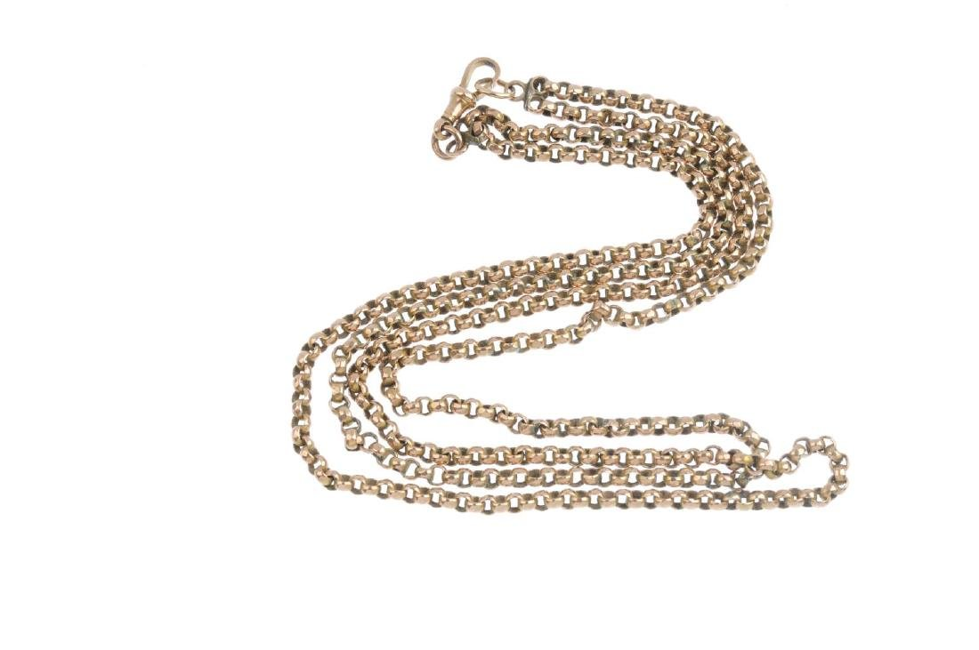An early 20th century 9ct gold longuard chain. Designed - 3