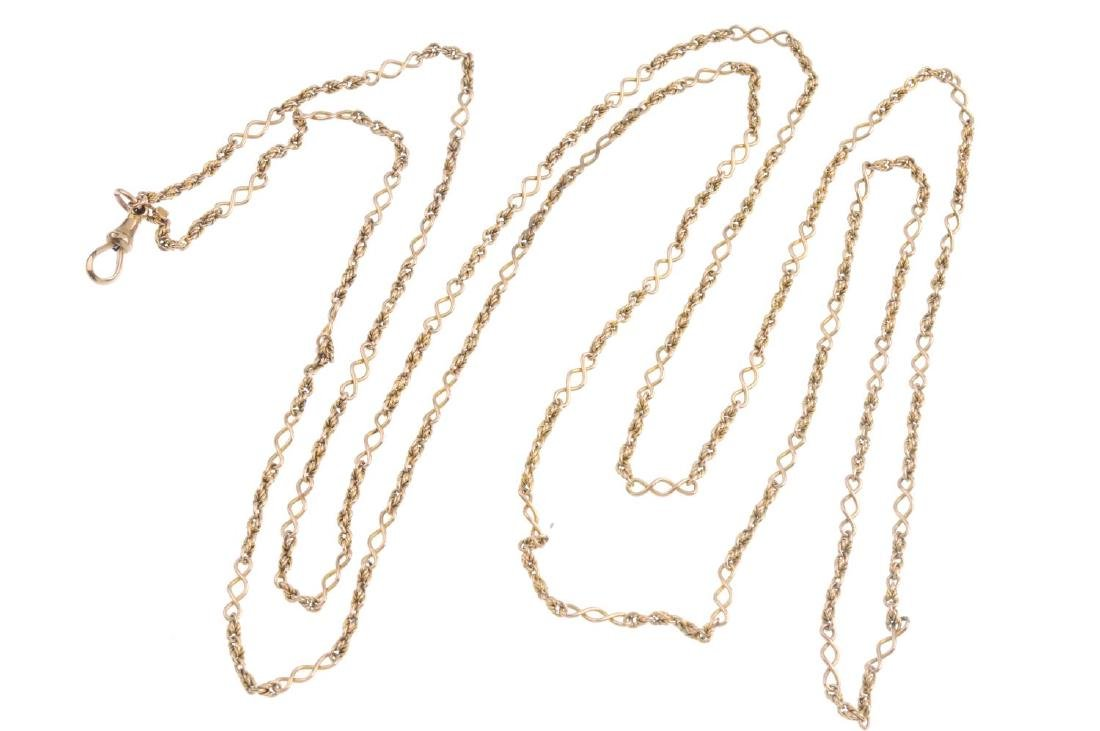 An early 20th century 9ct gold longuard chain. Designed - 2