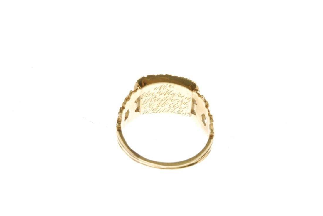 A George IV 18ct gold enamel memorial ring. Designed as - 4