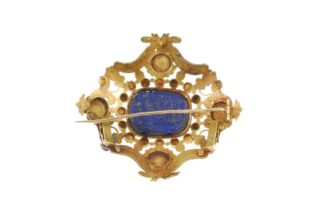 An early 19th century gold enamel and gem-set brooch. - 2