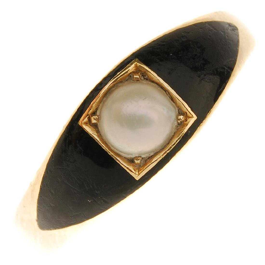 A late Victorian 18ct gold memorial ring, with later