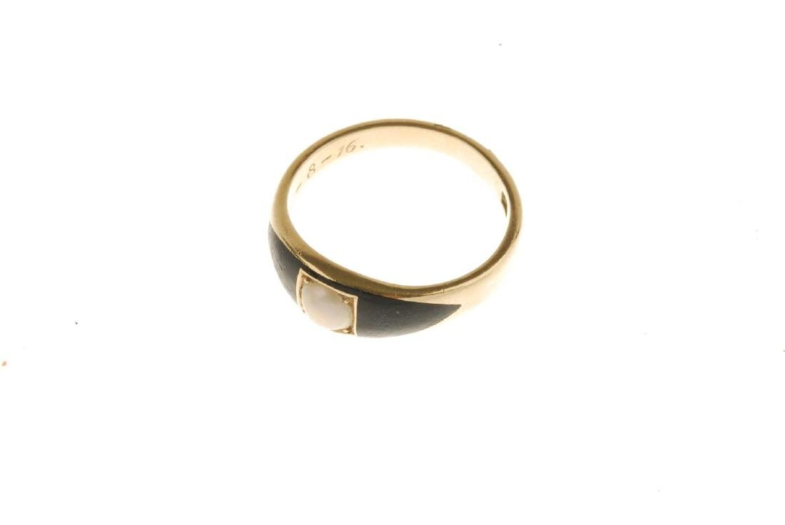 A late Victorian 18ct gold memorial ring, with later - 2