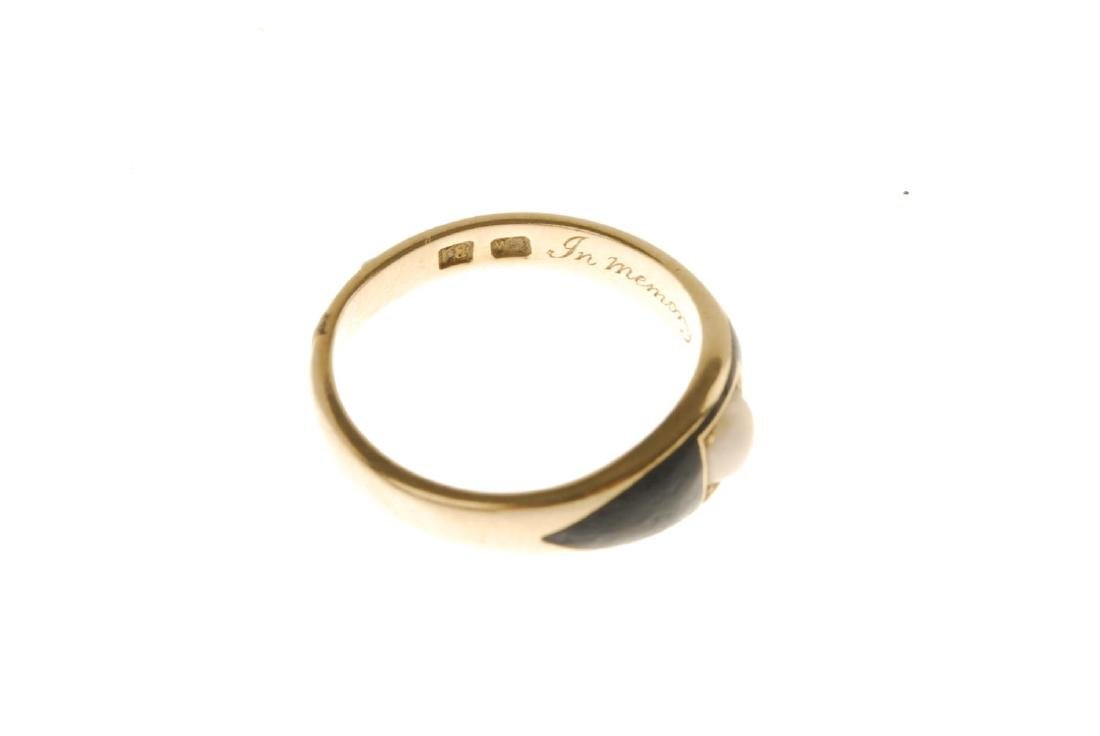 A late Victorian 18ct gold memorial ring, with later - 3