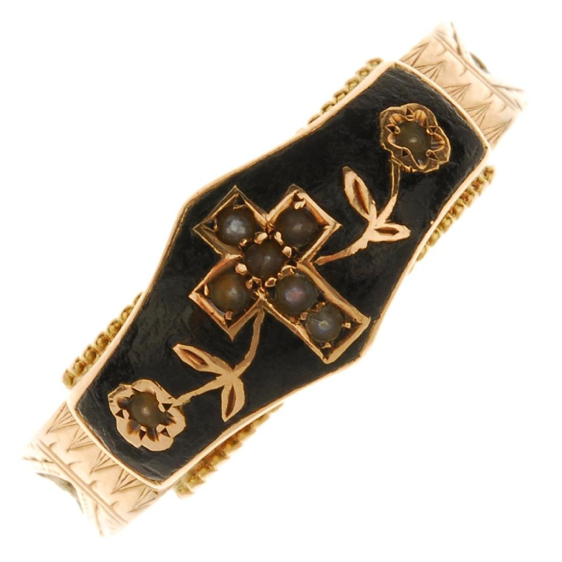 An early 20th century 9ct gold enamel and split pearl