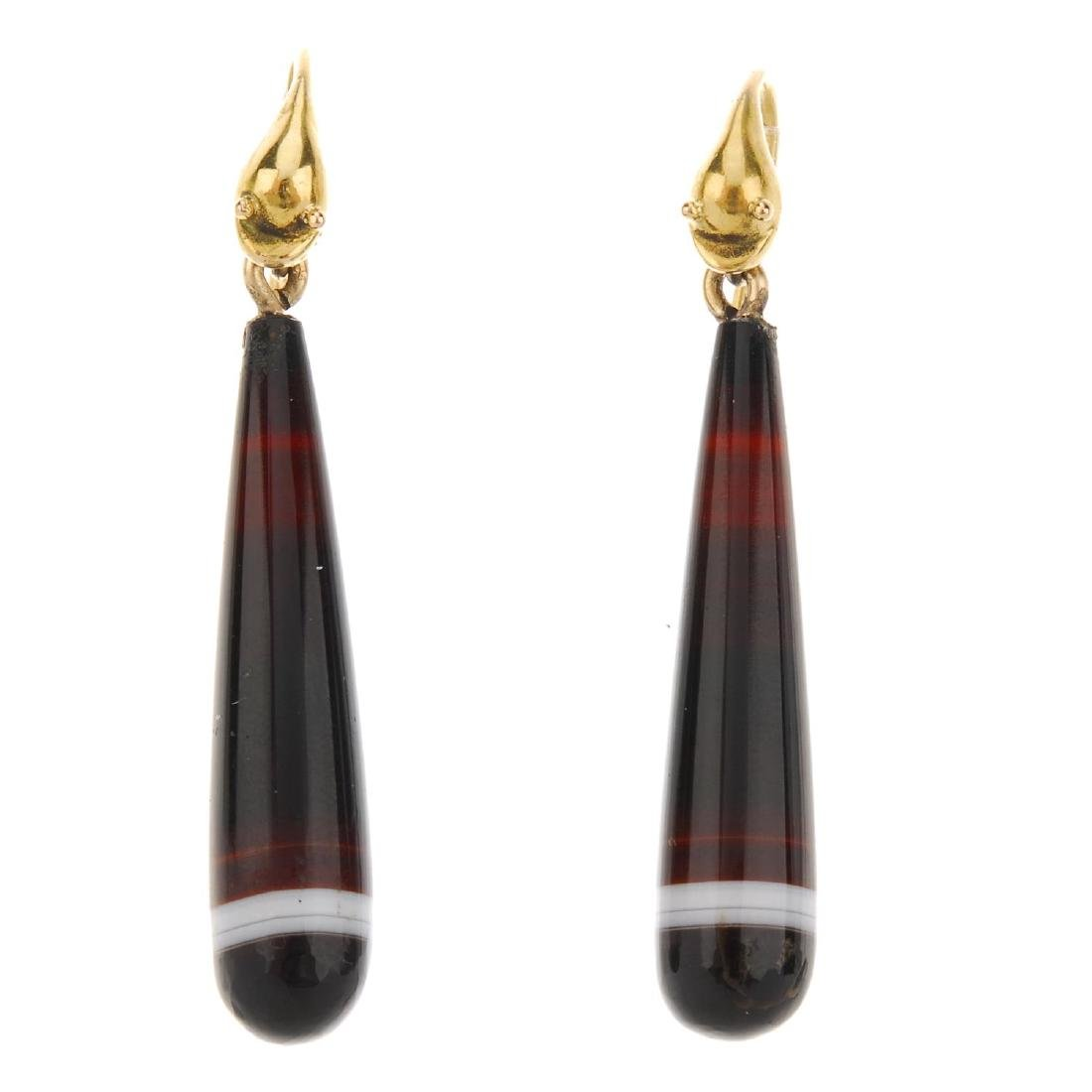 A pair of late Victorian banded agate earrings. The