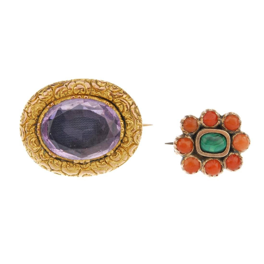 Two late Victorian gem-set brooches. The first an