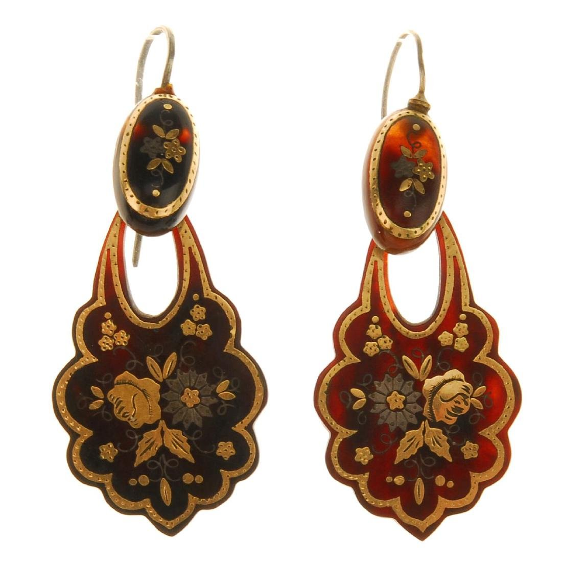 A pair of late 19th century tortoiseshell pique