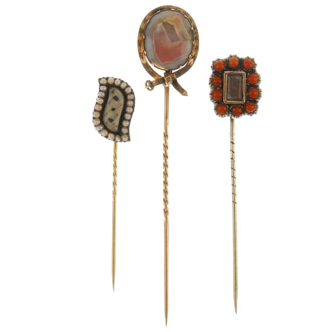 Five mid to late Victorian memorial stickpins. To