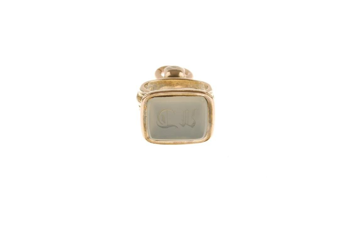 A chalcedony fob. The intaglio monogrammed rectangular - 3
