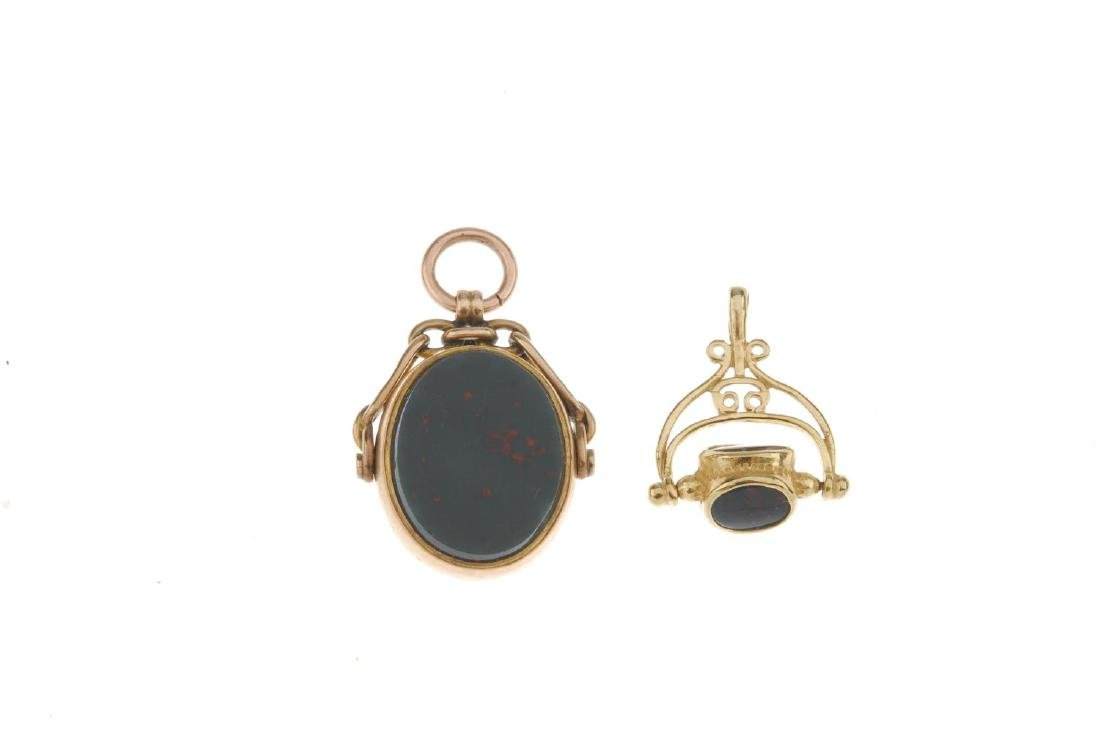 Two 9ct gold swivel fobs. The first designed with - 2
