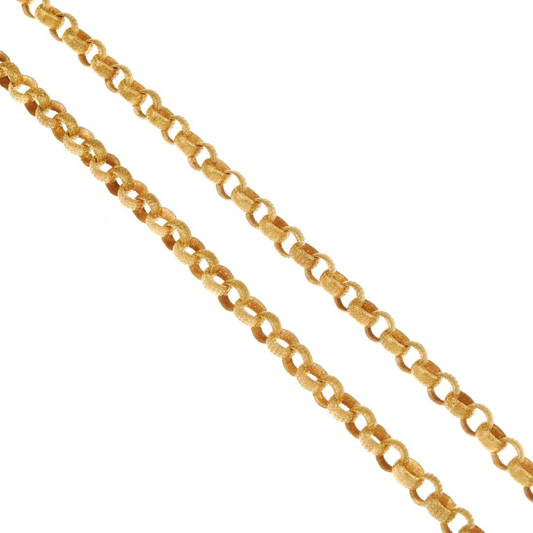 A 9ct gold fancy belcher-link chain. Designed as a