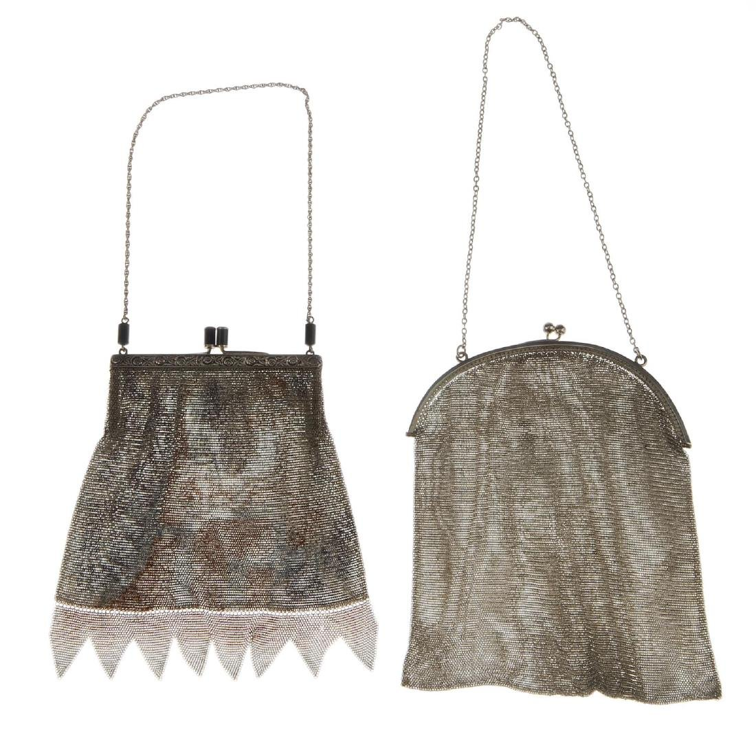 Two early 20th century mesh bags. The first with a