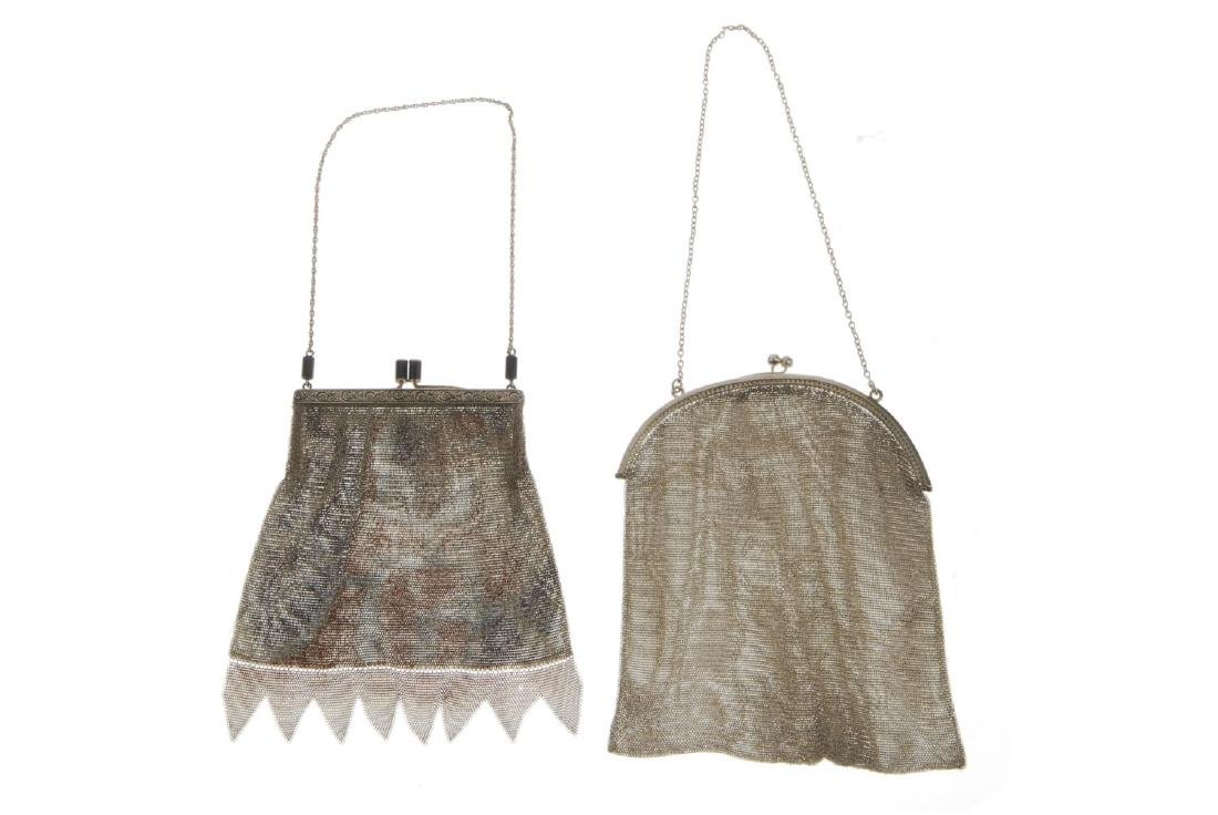 Two early 20th century mesh bags. The first with a - 2
