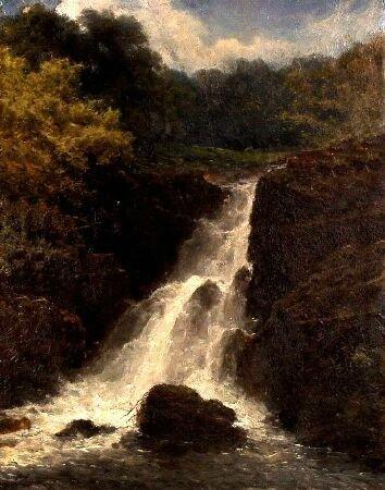 1013: 19TH CENTURY BRITISH Landscape with rocky waterfa