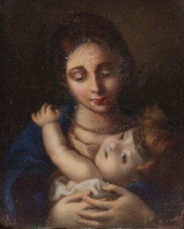 1014: 20TH CENTURY ITALIAN Madonna and child  oil, mini
