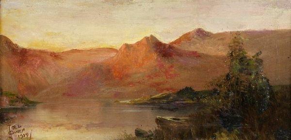1016: JOEL OWEN (British, 20th Century) Mountainous lak