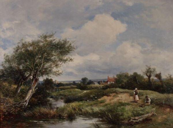 """1096: DAVID BATES  (British, 1840 - 1921) """"A Brook - At"""