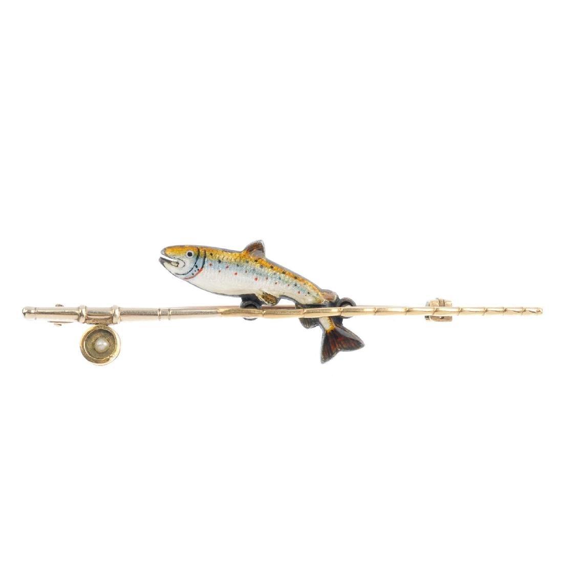 A enamel novelty bar brooch. Designed as a stylised