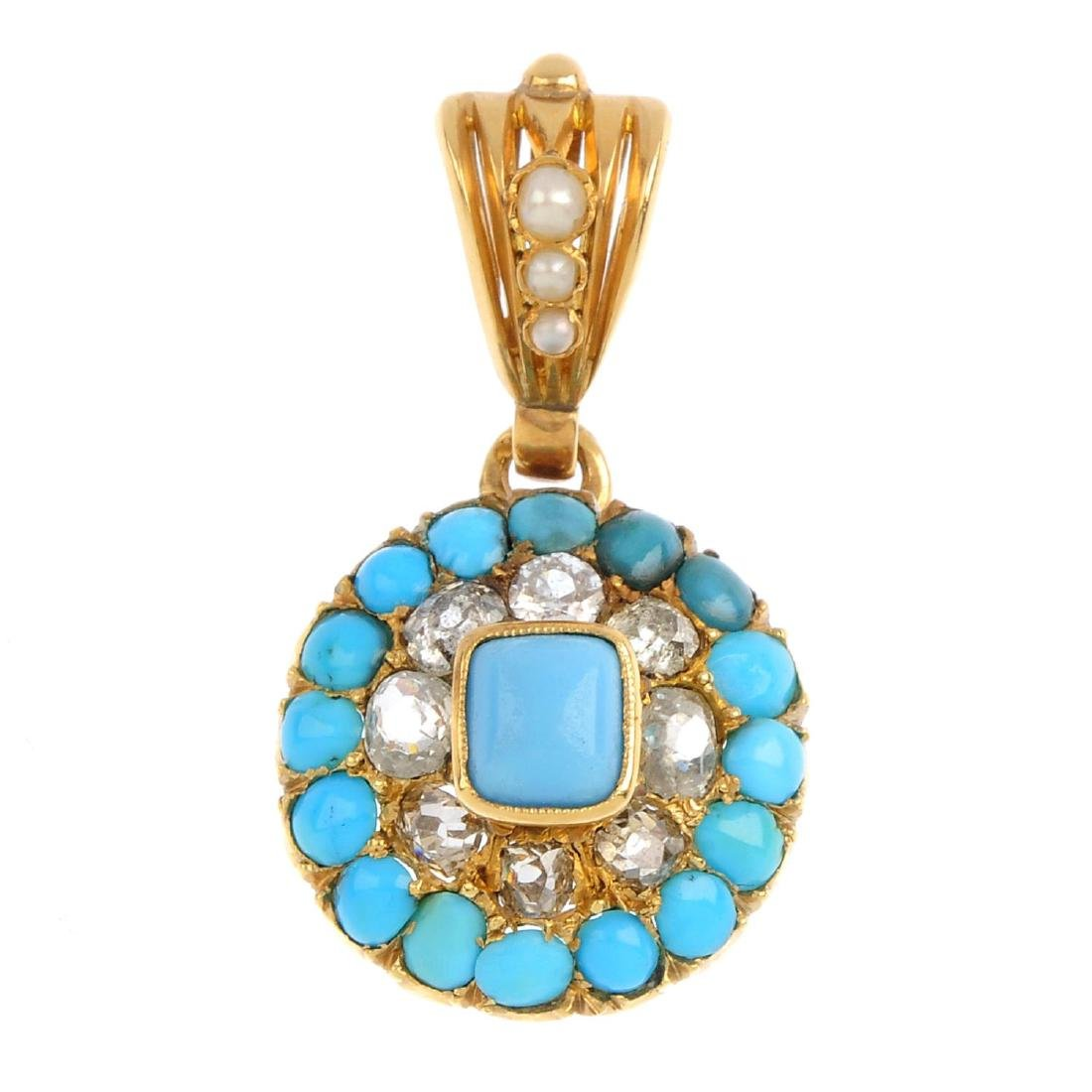 A turquoise, diamond and split pearl pendant. The