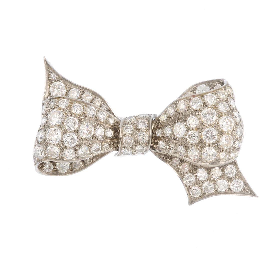 A mid 20th century diamond brooch. Designed as a